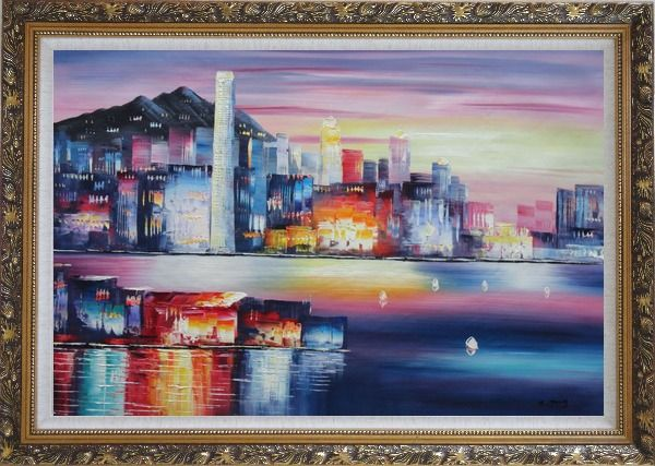 Framed Victoria Bay Skyline Of Hong Kong Oil Painting Cityscape China Modern Ornate Antique Dark Gold Wood Frame 30 x 42 Inches