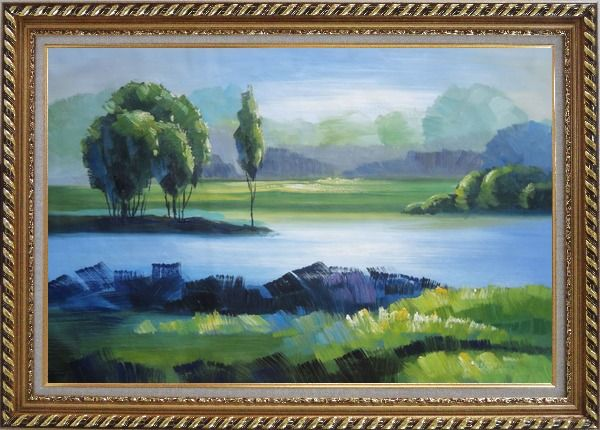 Framed Lake, Mountain, Trees in A Green Setting Oil Painting Landscape River Impressionism Exquisite Gold Wood Frame 30 x 42 Inches