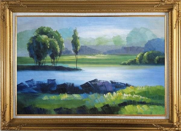 Framed Lake, Mountain, Trees in A Green Setting Oil Painting Landscape River Impressionism Gold Wood Frame with Deco Corners 31 x 43 Inches