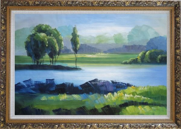 Framed Lake, Mountain, Trees in A Green Setting Oil Painting Landscape River Impressionism Ornate Antique Dark Gold Wood Frame 30 x 42 Inches