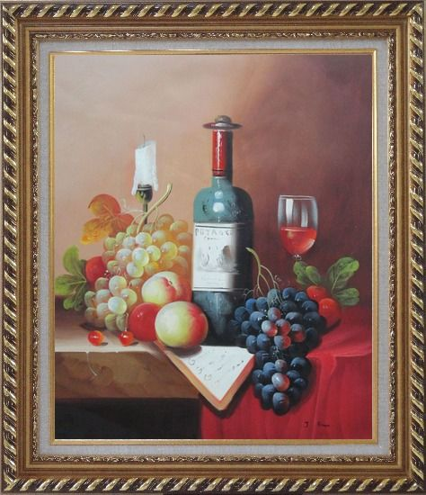 Framed Still Life with Wine Bottle, Glass of Red Wine, and Fruits Oil Painting Classic Exquisite Gold Wood Frame 30 x 26 Inches