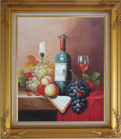 Framed Still Life with Wine Bottle, Glass of Red Wine, and Fruits Oil Painting Classic Gold Wood Frame with Deco Corners 31 x 27 Inches