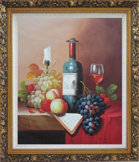 Framed Still Life with Wine Bottle, Glass of Red Wine, and Fruits Oil Painting Classic Ornate Antique Dark Gold Wood Frame 30 x 26 Inches