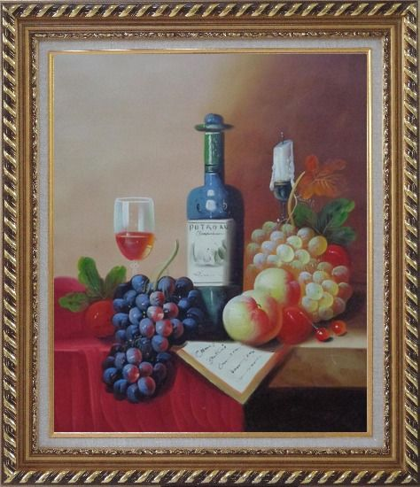Framed Still Life with Wine Bottle, Glass of Wine, Grapes and Peaches Oil Painting Fruit Classic Exquisite Gold Wood Frame 30 x 26 Inches