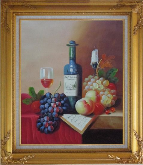 Framed Still Life with Wine Bottle, Glass of Wine, Grapes and Peaches Oil Painting Fruit Classic Gold Wood Frame with Deco Corners 31 x 27 Inches