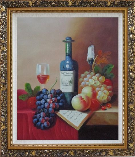 Framed Still Life with Wine Bottle, Glass of Wine, Grapes and Peaches Oil Painting Fruit Classic Ornate Antique Dark Gold Wood Frame 30 x 26 Inches