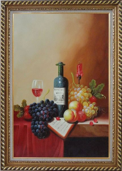 Framed Still Life with Wine Bottle, Glass of Wine, Grapes and Peaches Oil Painting Fruit Classic Exquisite Gold Wood Frame 42 x 30 Inches
