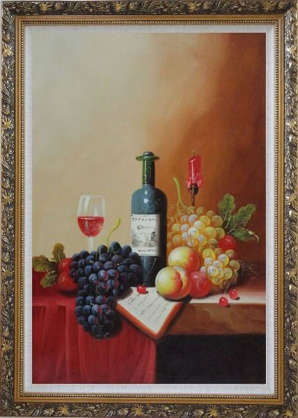 Framed Still Life with Wine Bottle, Glass of Wine, Grapes and Peaches Oil Painting Fruit Classic Ornate Antique Dark Gold Wood Frame 42 x 30 Inches