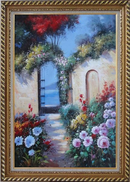 Framed Blooming Flower Garden to Mediterranean Sea Oil Painting Naturalism Exquisite Gold Wood Frame 42 x 30 Inches