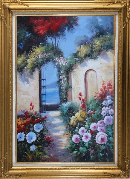 Framed Blooming Flower Garden to Mediterranean Sea Oil Painting Naturalism Gold Wood Frame with Deco Corners 43 x 31 Inches