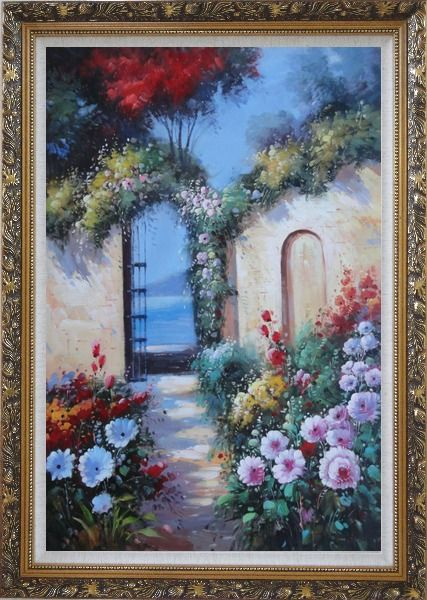 Framed Blooming Flower Garden to Mediterranean Sea Oil Painting Naturalism Ornate Antique Dark Gold Wood Frame 42 x 30 Inches