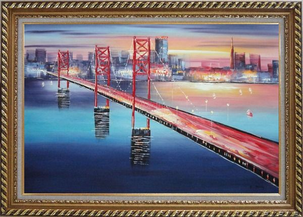 Framed Bay Bridge To San Francisco Oil Painting Cityscape America Modern Exquisite Gold Wood Frame 30 x 42 Inches