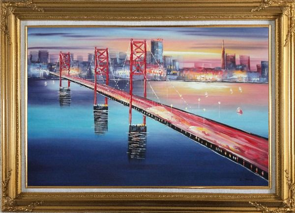 Framed Bay Bridge To San Francisco Oil Painting Cityscape America Modern Gold Wood Frame with Deco Corners 31 x 43 Inches
