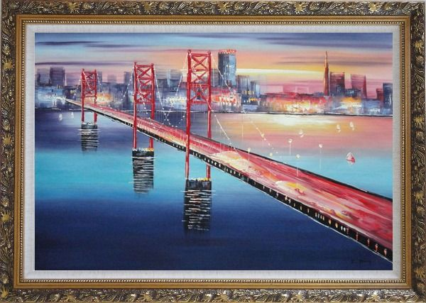 Framed Bay Bridge To San Francisco Oil Painting Cityscape America Modern Ornate Antique Dark Gold Wood Frame 30 x 42 Inches
