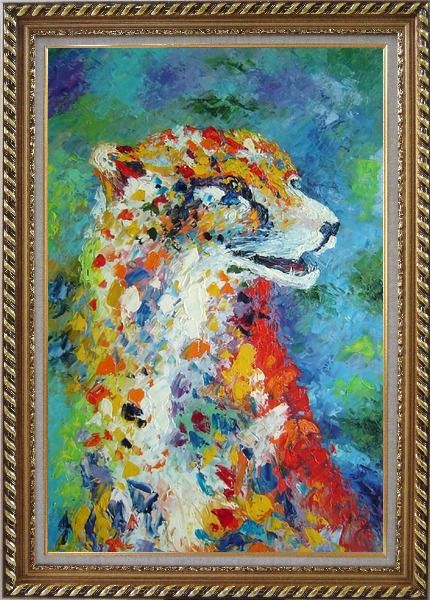 Framed Leopard in a Modern Setting Oil Painting Animal  Exquisite Gold Wood Frame 42 x 30 Inches
