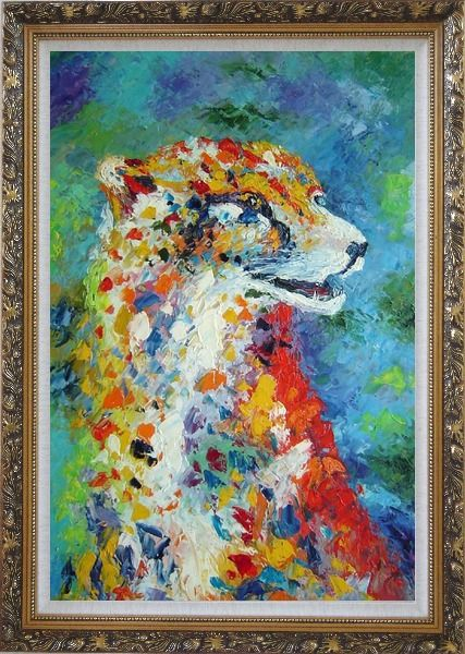 Framed Leopard in a Modern Setting Oil Painting Animal  Ornate Antique Dark Gold Wood Frame 42 x 30 Inches