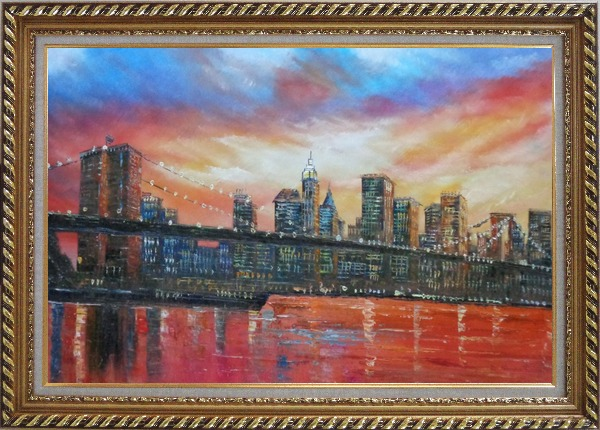 Framed Brooklyn Bridge and Manhattan Skyline Oil Painting Cityscape America Impressionism Exquisite Gold Wood Frame 30 x 42 Inches