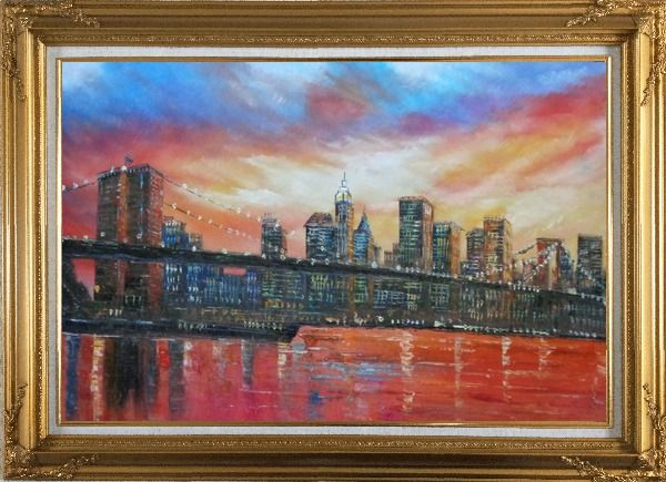 Framed Brooklyn Bridge and Manhattan Skyline Oil Painting Cityscape America Impressionism Gold Wood Frame with Deco Corners 31 x 43 Inches