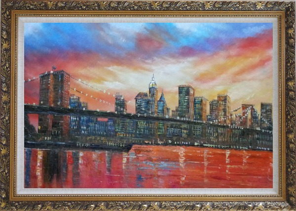 Framed Brooklyn Bridge and Manhattan Skyline Oil Painting Cityscape America Impressionism Ornate Antique Dark Gold Wood Frame 30 x 42 Inches