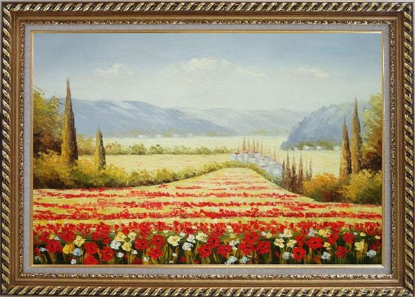 Framed Tuscan Flower Sea of Red and Yellow Oil Painting Landscape Field Italy Naturalism Exquisite Gold Wood Frame 30 x 42 Inches