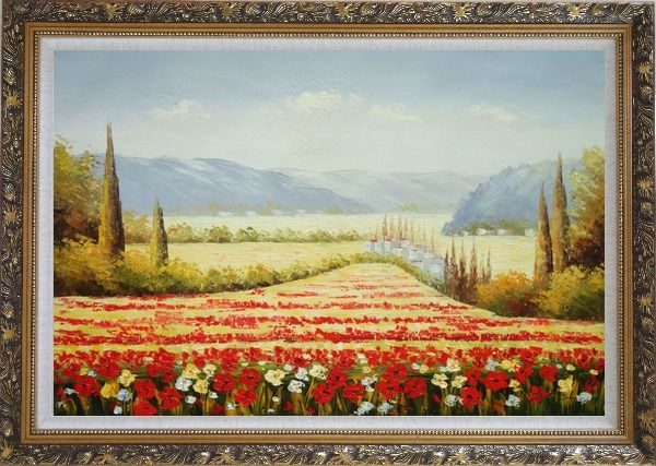 Framed Tuscan Flower Sea of Red and Yellow Oil Painting Landscape Field Italy Naturalism Ornate Antique Dark Gold Wood Frame 30 x 42 Inches