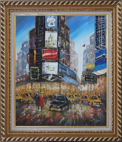 Framed New York Time Square Street Scene Oil Painting Cityscape America Impressionism Exquisite Gold Wood Frame 30 x 26 Inches