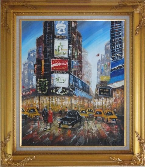 Framed New York Time Square Street Scene Oil Painting Cityscape America Impressionism Gold Wood Frame with Deco Corners 31 x 27 Inches