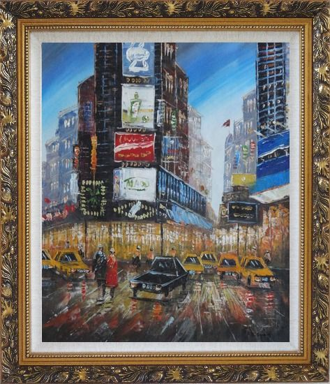 Framed New York Time Square Street Scene Oil Painting Cityscape America Impressionism Ornate Antique Dark Gold Wood Frame 30 x 26 Inches
