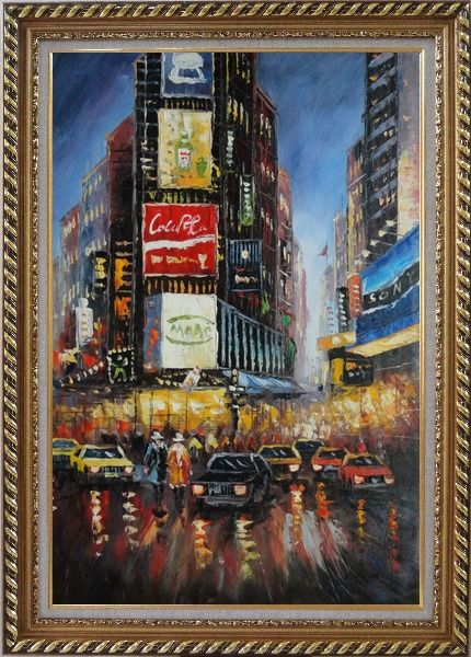 Framed New York Time Square Street Scene Oil Painting Cityscape America Impressionism Exquisite Gold Wood Frame 42 x 30 Inches