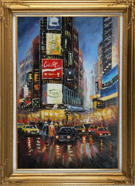 Framed New York Time Square Street Scene Oil Painting Cityscape America Impressionism Gold Wood Frame with Deco Corners 43 x 31 Inches