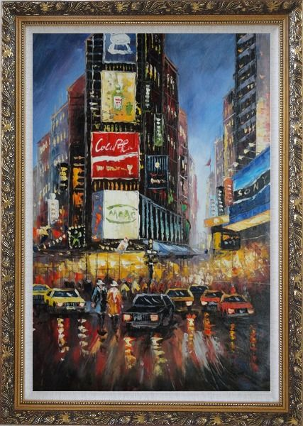Framed New York Time Square Street Scene Oil Painting Cityscape America Impressionism Ornate Antique Dark Gold Wood Frame 42 x 30 Inches