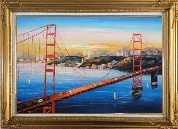 Framed Golden Gate Bridge, San Francisco Oil Painting Cityscape America Impressionism Gold Wood Frame with Deco Corners 31 x 43 Inches