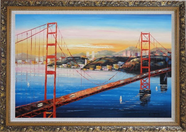 Framed Golden Gate Bridge, San Francisco Oil Painting Cityscape America Impressionism Ornate Antique Dark Gold Wood Frame 30 x 42 Inches
