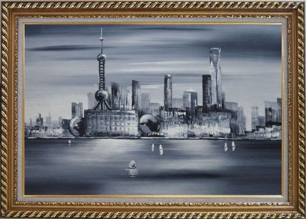 Framed Shanghai Skyline, Huangpu River Oil Painting Cityscape Black White Modern Exquisite Gold Wood Frame 30 x 42 Inches