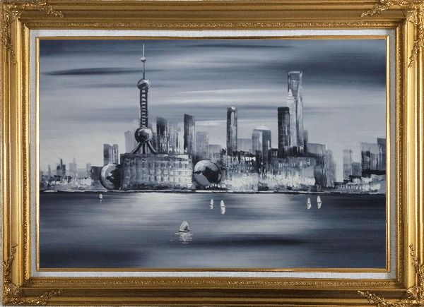 Framed Shanghai Skyline, Huangpu River Oil Painting Cityscape Black White Modern Gold Wood Frame with Deco Corners 31 x 43 Inches