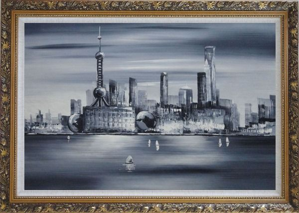 Framed Shanghai Skyline, Huangpu River Oil Painting Cityscape Black White Modern Ornate Antique Dark Gold Wood Frame 30 x 42 Inches