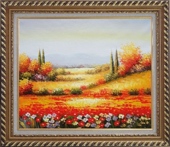 Framed Tuscan Poppies And Cypress Oil Painting Landscape Field Italy Naturalism Exquisite Gold Wood Frame 26 x 30 Inches