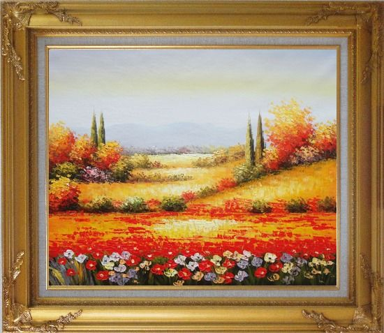 Framed Tuscan Poppies And Cypress Oil Painting Landscape Field Italy Naturalism Gold Wood Frame with Deco Corners 27 x 31 Inches