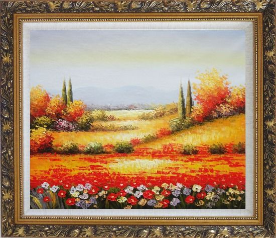 Framed Tuscan Poppies And Cypress Oil Painting Landscape Field Italy Naturalism Ornate Antique Dark Gold Wood Frame 26 x 30 Inches