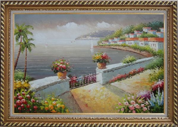 Framed Mediterranean Flower Garden Under Cloud Oil Painting Naturalism Exquisite Gold Wood Frame 30 x 42 Inches