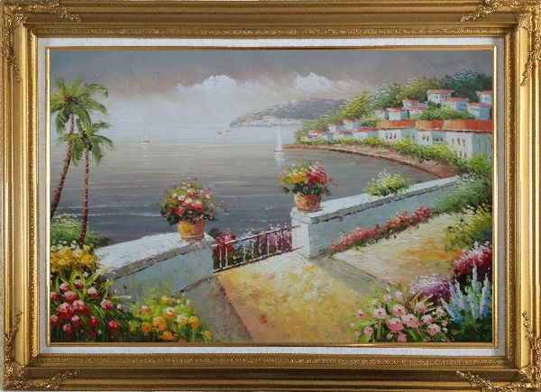 Framed Mediterranean Flower Garden Under Cloud Oil Painting Naturalism Gold Wood Frame with Deco Corners 31 x 43 Inches
