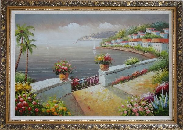 Framed Mediterranean Flower Garden Under Cloud Oil Painting Naturalism Ornate Antique Dark Gold Wood Frame 30 x 42 Inches
