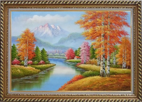 Framed River and Yellow Birch Forest In Fall Oil Painting Landscape Tree Autumn Naturalism Exquisite Gold Wood Frame 30 x 42 Inches