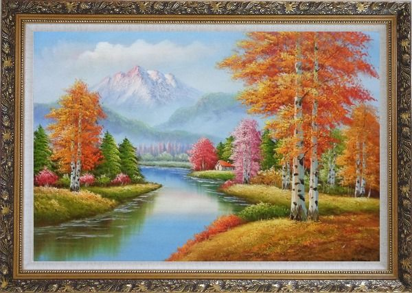 Framed River and Yellow Birch Forest In Fall Oil Painting Landscape Tree Autumn Naturalism Ornate Antique Dark Gold Wood Frame 30 x 42 Inches