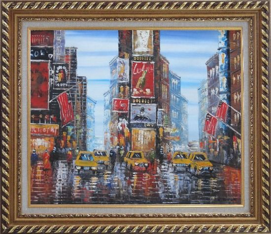 Framed Times Square of New York City Oil Painting Cityscape America Impressionism Exquisite Gold Wood Frame 26 x 30 Inches