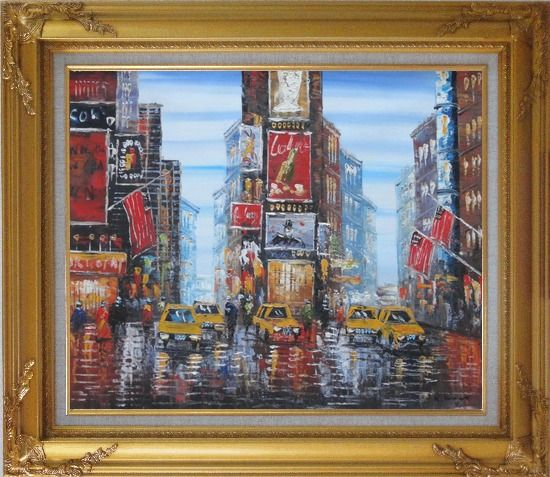 Framed Times Square of New York City Oil Painting Cityscape America Impressionism Gold Wood Frame with Deco Corners 27 x 31 Inches