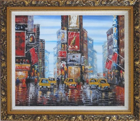 Framed Times Square of New York City Oil Painting Cityscape America Impressionism Ornate Antique Dark Gold Wood Frame 26 x 30 Inches