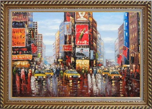 Framed Times Square of New York City Oil Painting Cityscape America Impressionism Exquisite Gold Wood Frame 30 x 42 Inches