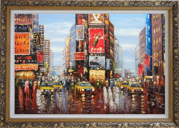 Framed Times Square of New York City Oil Painting Cityscape America Impressionism Ornate Antique Dark Gold Wood Frame 30 x 42 Inches
