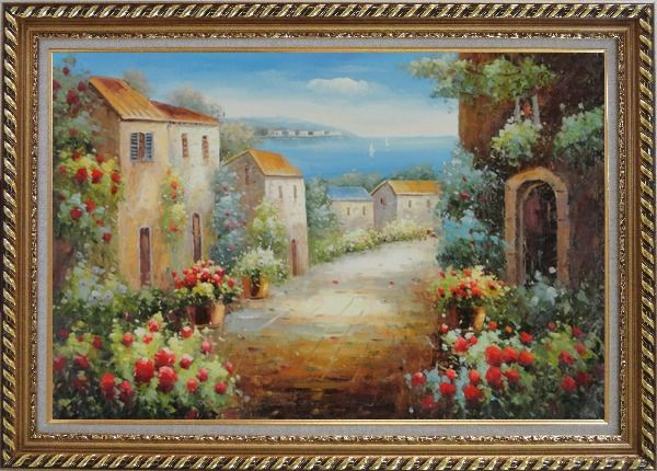 Framed Mediterranean Coastal Garden Oil Painting Classic Exquisite Gold Wood Frame 30 x 42 Inches